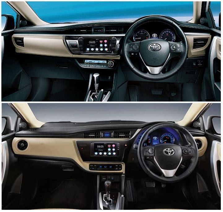 toyota corolla altis comparison old vs new price mileage features specs dimensions and more. Black Bedroom Furniture Sets. Home Design Ideas