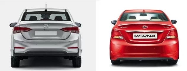 Hyundai Verna New vs Old Rear
