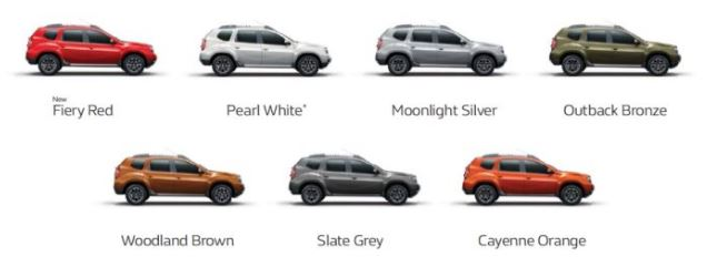 Renault Duster Petrol Automatic Colors